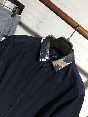 夏装薄款 GR GRSAGA 男士韩版修身 藏青色休闲短袖衬衫原单