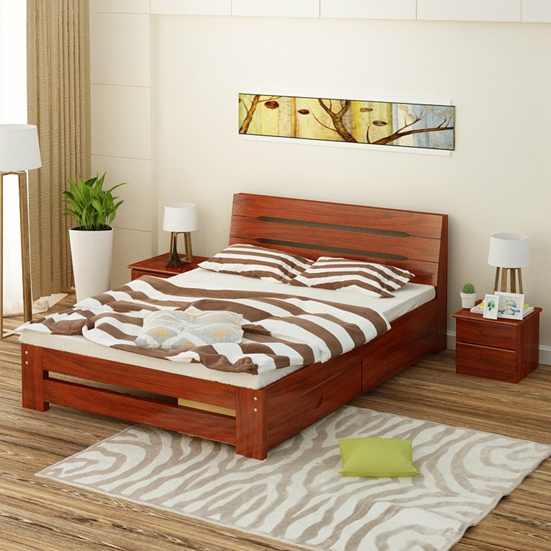 The simplicity of modern solid wood double bed 1.5 meters 1.8 loose bed adult bed children bed sheets 1.2 meters