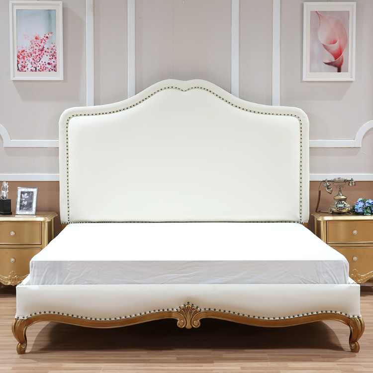 The new classical European wood bed carved double bed American fabric luxury wedding bed bed spot Princess Jane