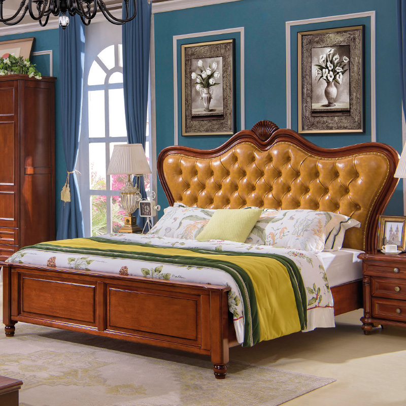 American style furniture, retro solid wood bed 1.5 meters, leather carved bed, European style soft double bed