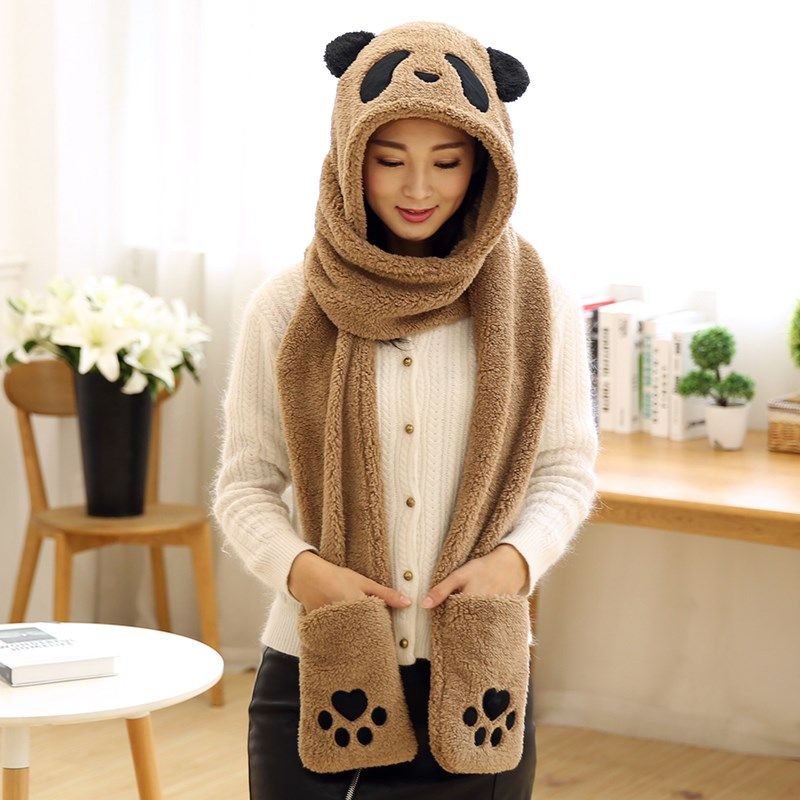 Lovely panda three one hat, thick warm glove, scarf, parentage cap and winter gift for men and women