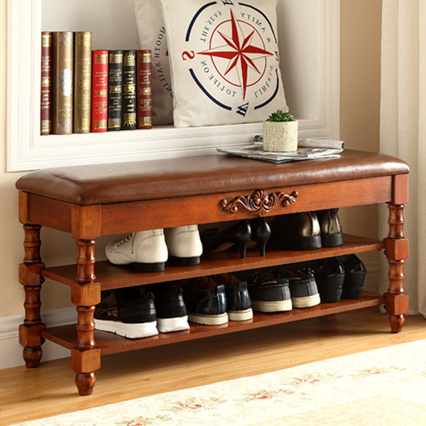 American country wood shoes stool hall with armrest storage stool multifunctional door shoe shoe stool