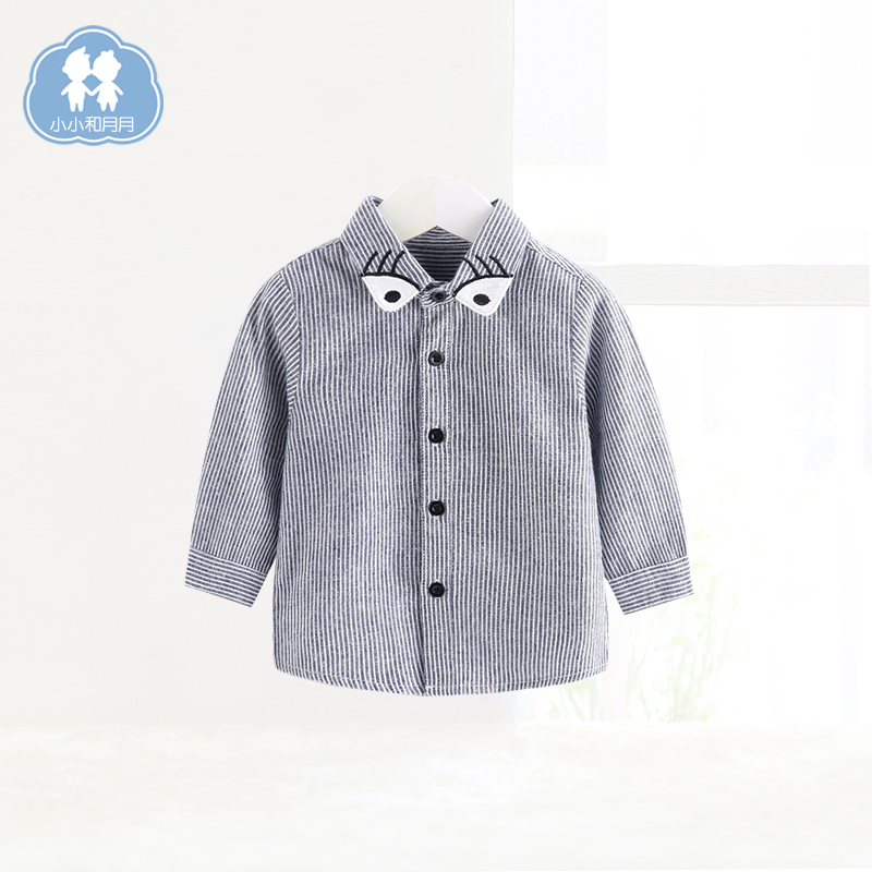 小さな赤ちゃんと月秋上着男性の赤ちゃんのシャツに歳歳歳児童いちさん縞長袖シャツ