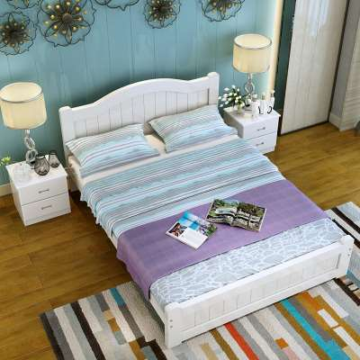 Simple all solid wood bed color pine bed princess bed, children's single bed furniture double bed 1.81.21.5m meters white