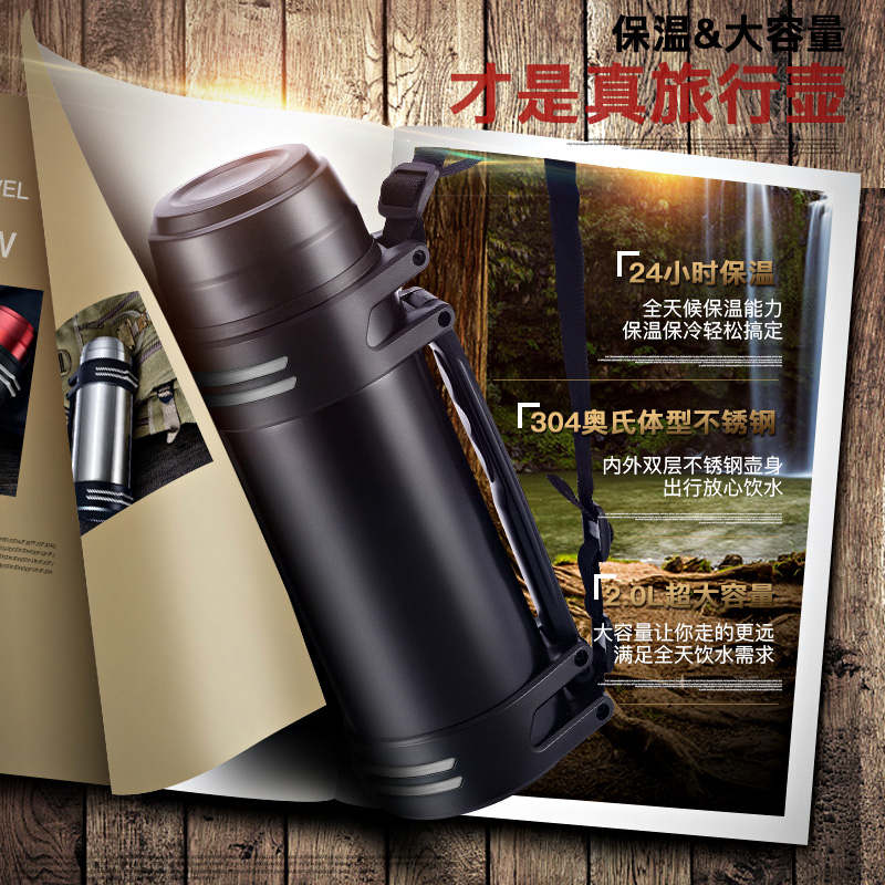 Large capacity 1100ML stainless steel thermos cup, outdoor outdoor motion vacuum kettle, men and women traveling car drinking cup