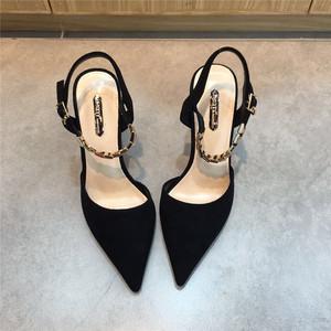 高跟凉鞋女夏2018新款黑色百搭一字扣带金属装饰细跟包头后空女鞋