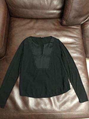 微瑕特清 西班牙设计师高端 气质V领长袖拼接衬衫女原单