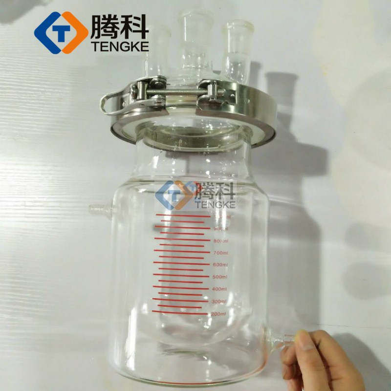 5000ML opening reactor of reaction kettle 5L four jacketed reactor with scale of double layer reactor