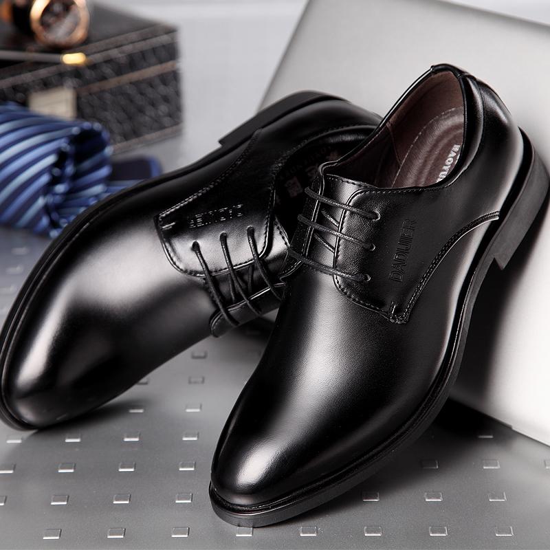 商务正装内增高皮鞋男8cm 冬季英伦尖头加绒男鞋韩版真皮休闲婚鞋