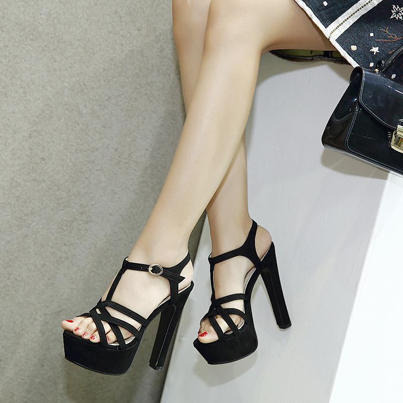 夏季新款超高跟女鞋粗跟防水臺鏤空涼鞋T型細帶走秀女鞋14cm粗跟