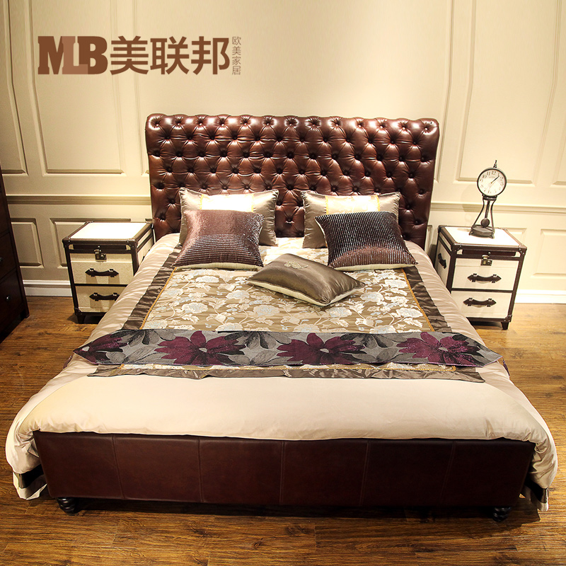 United States Federal classic American leather bed, double solid wood bed, travel box type night table cloth, do old retro furniture