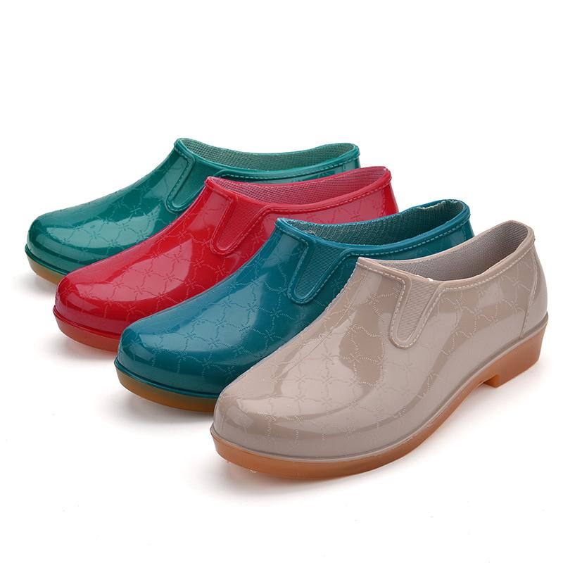 女士雨鞋雨靴水靴防水防滑膠鞋套鞋水鞋廚房低幫短筒牛筋底有加棉