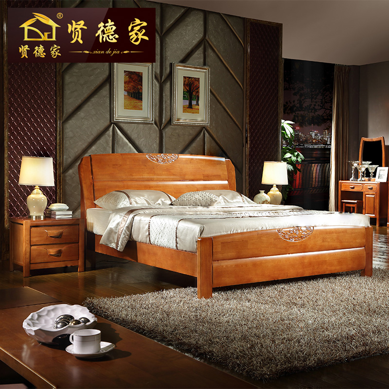 Solid wood bed, double Chinese style, 1.8 meters oak, 1.5 meters per person, modern simple, high box, special package, mail marriage bed