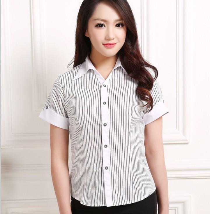黑白條短袖s春夏女士黑白條紋短袖襯衫免燙職業工裝工作服廠服v領修身襯衣棉