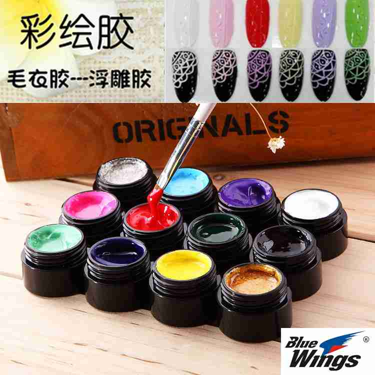 Nail painted glue gold painting drawing line glue pigment relief light treatment a oil glue 12 color package stamp