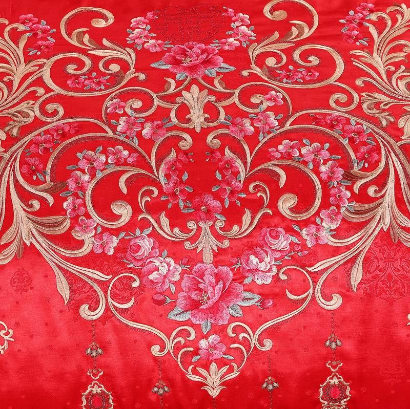 A new spring festival to celebrate the wedding of red bedding set of four Cotton Satin Embroidery Tencel fashion life