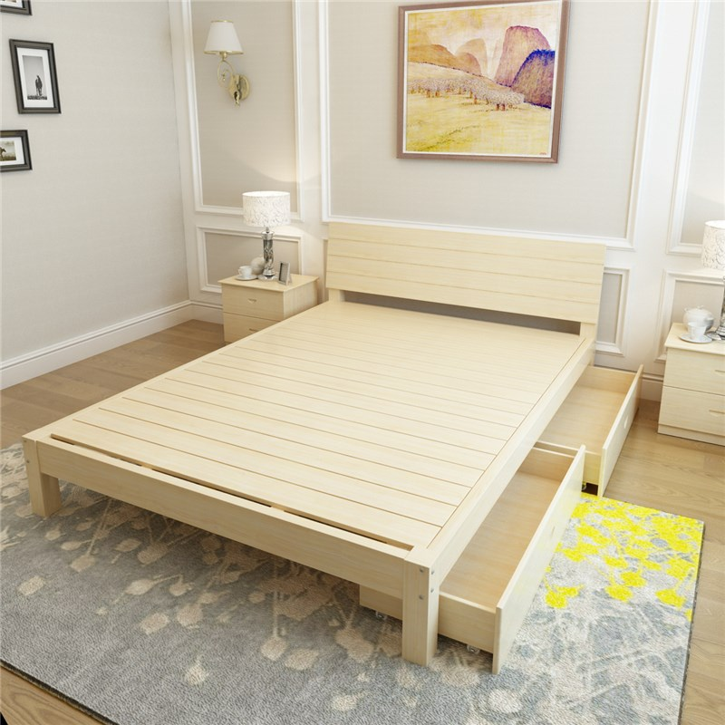 Solid wood bedstead, 1.5 double bed, 1.8 pine single bed, adult log, modern simple children bed 1.2 meters