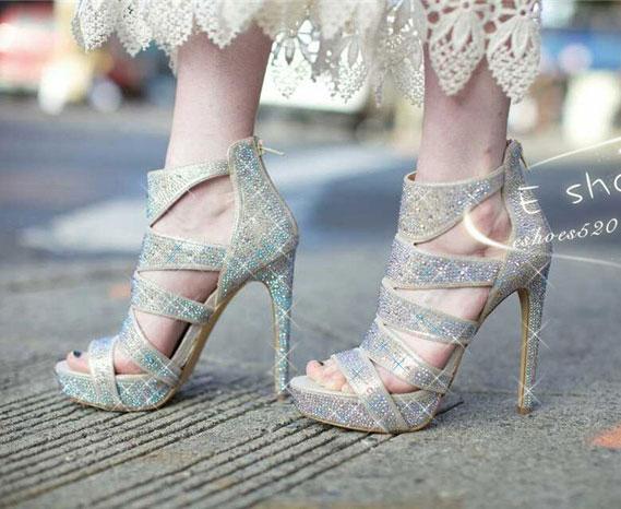 2017春夏新款罗马超高跟水钻凉鞋防水台镂空性感夜店女鞋鱼嘴鞋