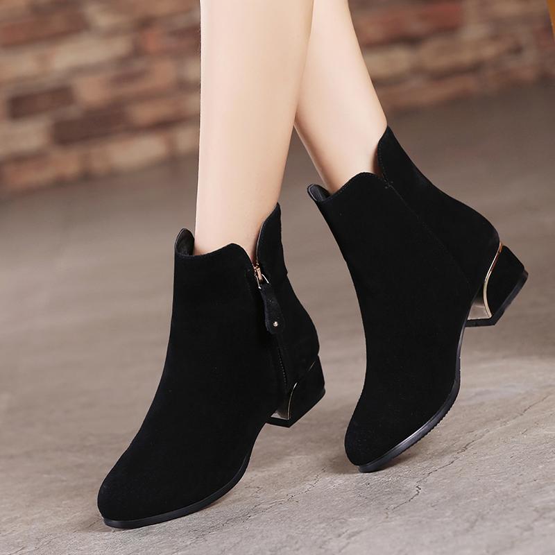 冬天鞋子女圆头短靴春秋季磨砂真皮中跟粗跟单靴大码女靴40-41-43