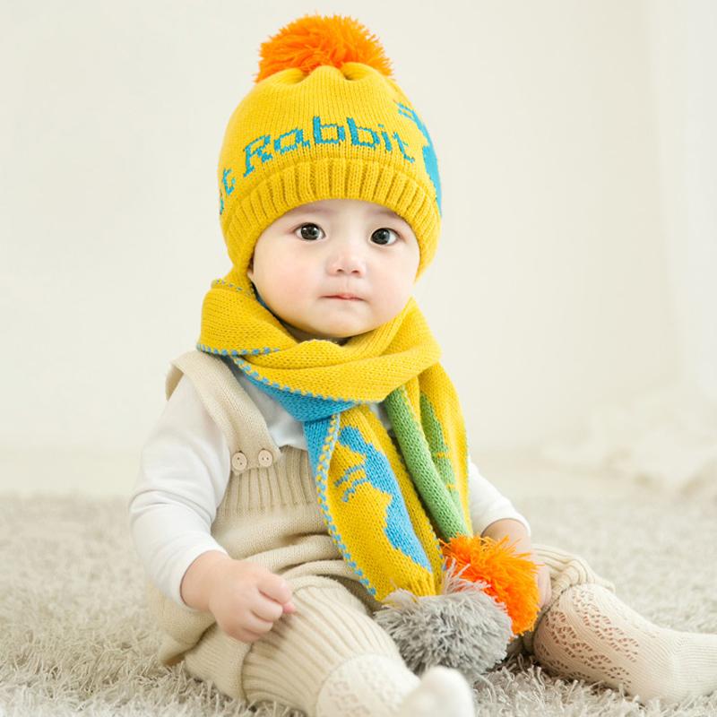 婴儿帽子秋冬季加绒0-24个月宝宝套帽围巾护耳男女童潮幼儿毛线帽