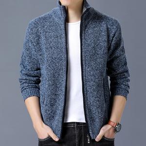 男装秋冬装男士新品韩版修身开衫毛衣加绒加厚针织衫保暖外套上衣