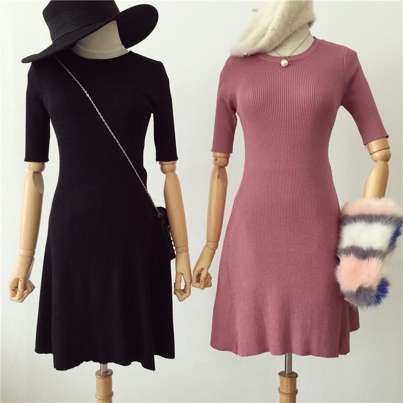 秋季2017新款女装韩版气质圆领高腰显瘦修身中袖针织连衣裙中裙女