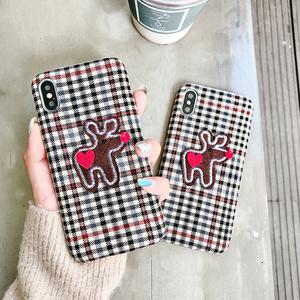 麋鹿爱心方格少女心手机壳苹果六绒布iphoneX/XS/XR/Max情侣7P/8