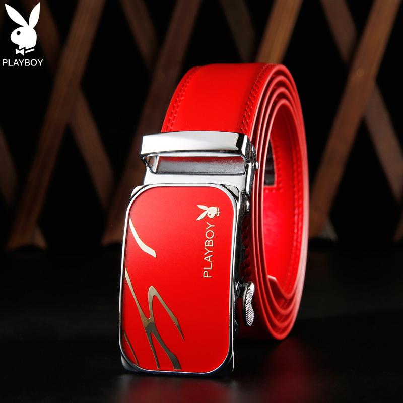 2017新型プレイボーイ赤い本命年男ベルトの男性の金の自動バックルベルトカジュアル真皮