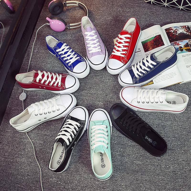 2017經典款黑白色帆布鞋女學生韓版潮平底低幫百搭學院板鞋休閑鞋