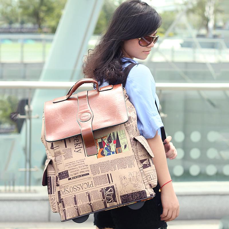 王子坊时尚复古报纸拉杆包双肩背包 男女大容量防水行李箱旅行箱