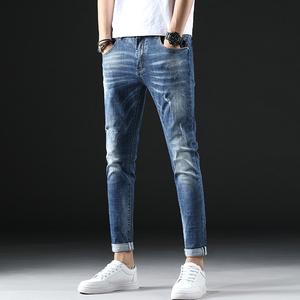 破洞牛仔裤男士修身小脚九分裤青年弹力