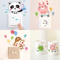 Creative cartoon animal stickers creative switch stickers affixed socket switch attached to children room bedroom decoration stickers