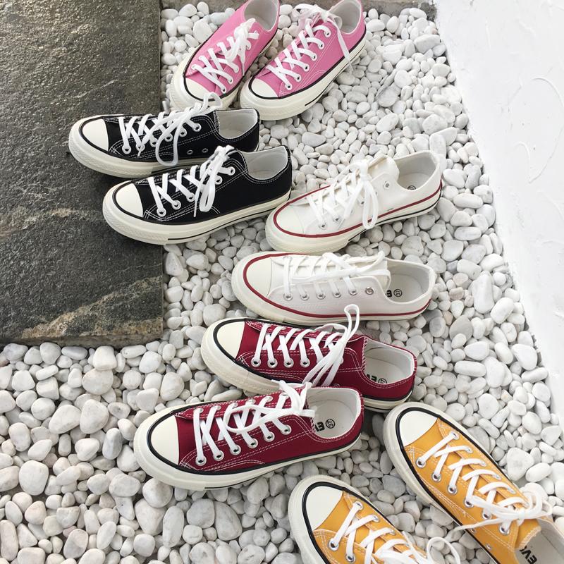 2017韩版百搭撞色低帮鞋女鞋子街头休闲运动平底鞋学生帆布鞋板鞋