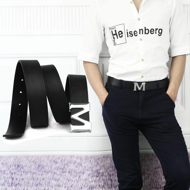 メンズファッション理髪師狭い字母Mベルト個性靑年百搭夜店ベルト特価包郵