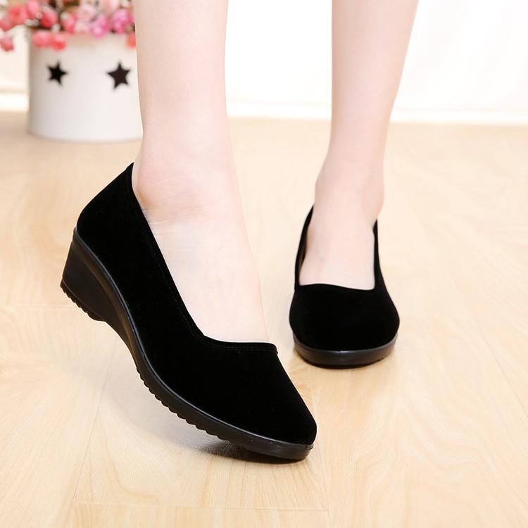 正品老北京布鞋 女鞋單鞋軟底防滑工作鞋黑色方口舞蹈鞋酒店通勤
