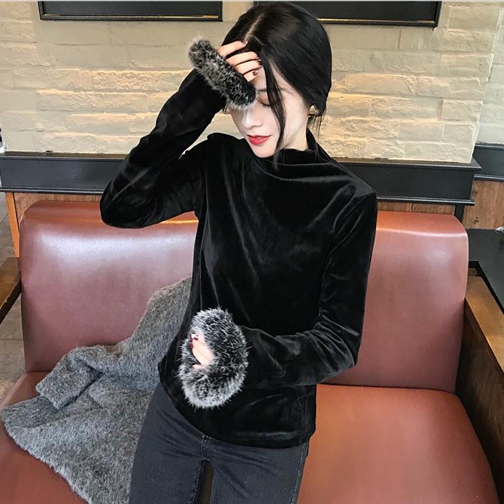 2017秋裝新款氣質半高領T恤修身打底衫長袖金絲絨袖口毛毛上衣女