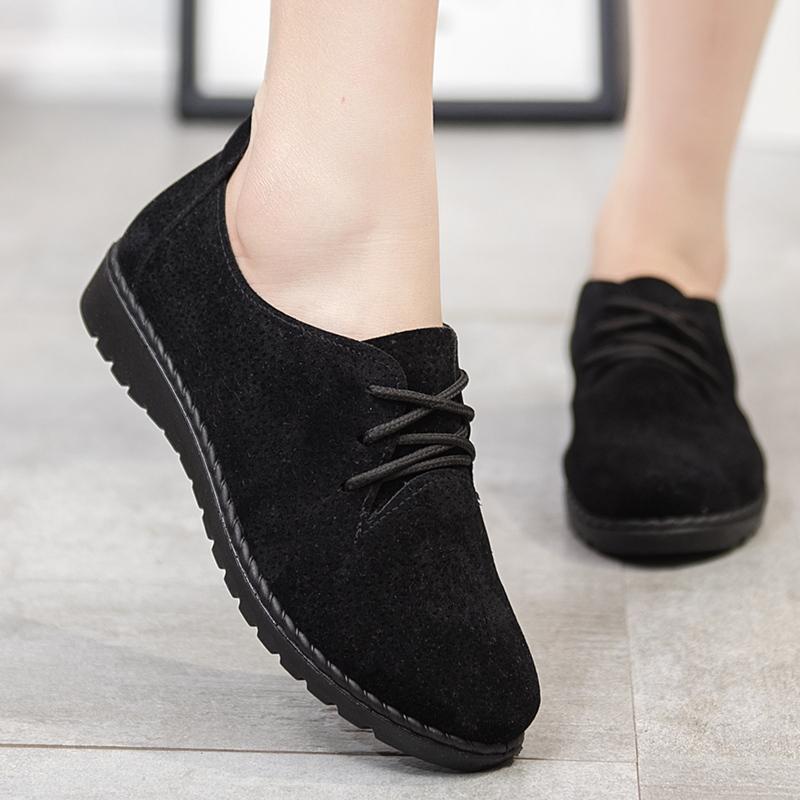 老北京布鞋秋季新款女鞋平底英伦风系带休闲鞋百搭单鞋复古小黑鞋