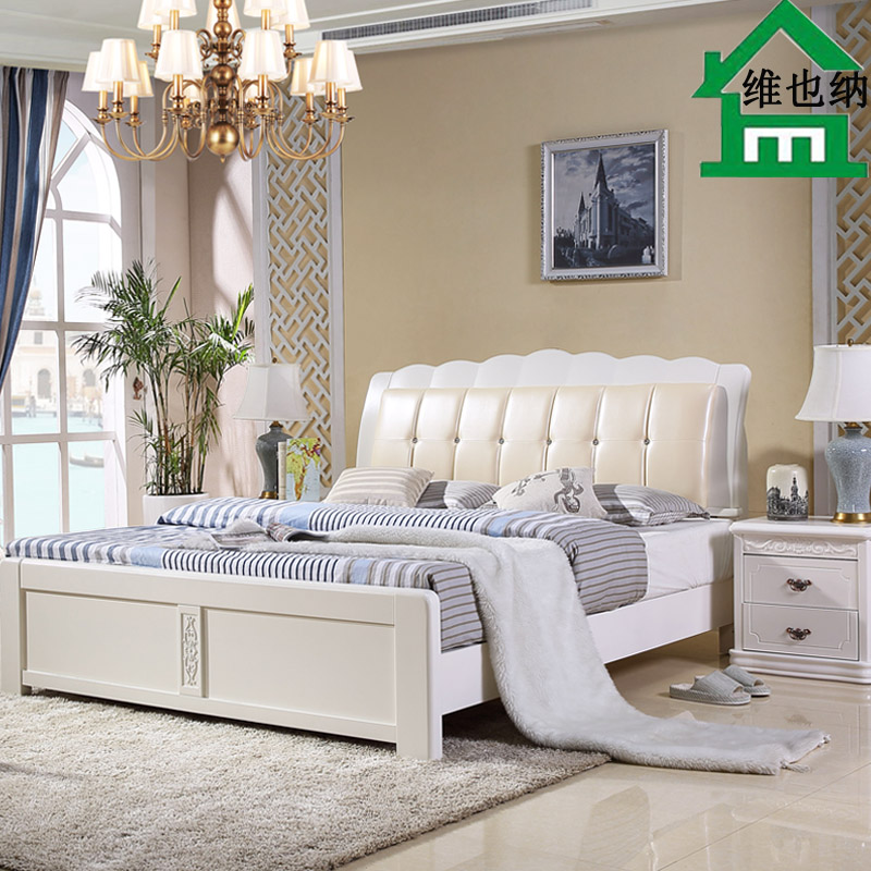 Simple modern white oak wood bed 1.5 double 1.8 meters high on the soft soft leather leather bed bed box