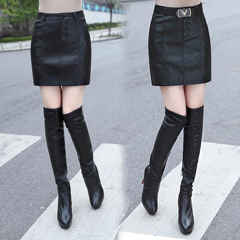 秋鼕皮裙半身裙女2017新款韓版高腰黑色PU皮短裙顯瘦一步裙包臀裙