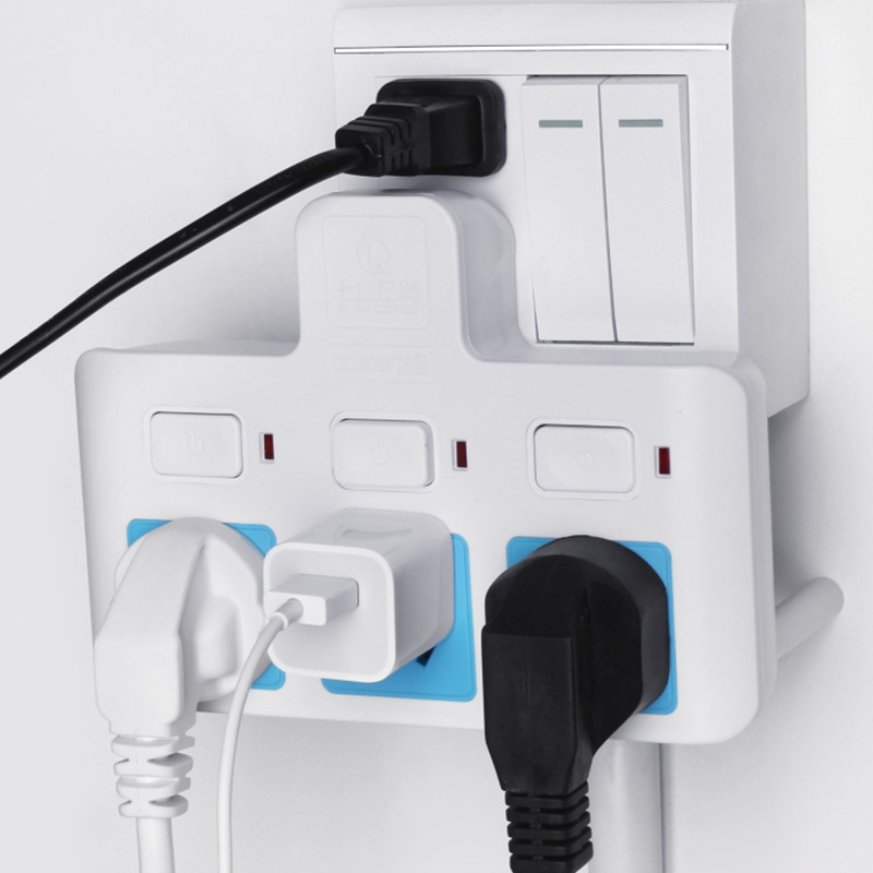 Row insert 3 wall variable pressure dormitory socket plug and switch, desktop independent wall student fixer small