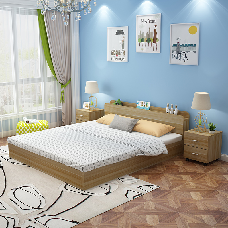 Bed type modern minimalist bed 1.8 meters 1.2 meters 1.5 meters double bed single bed couch rice economy