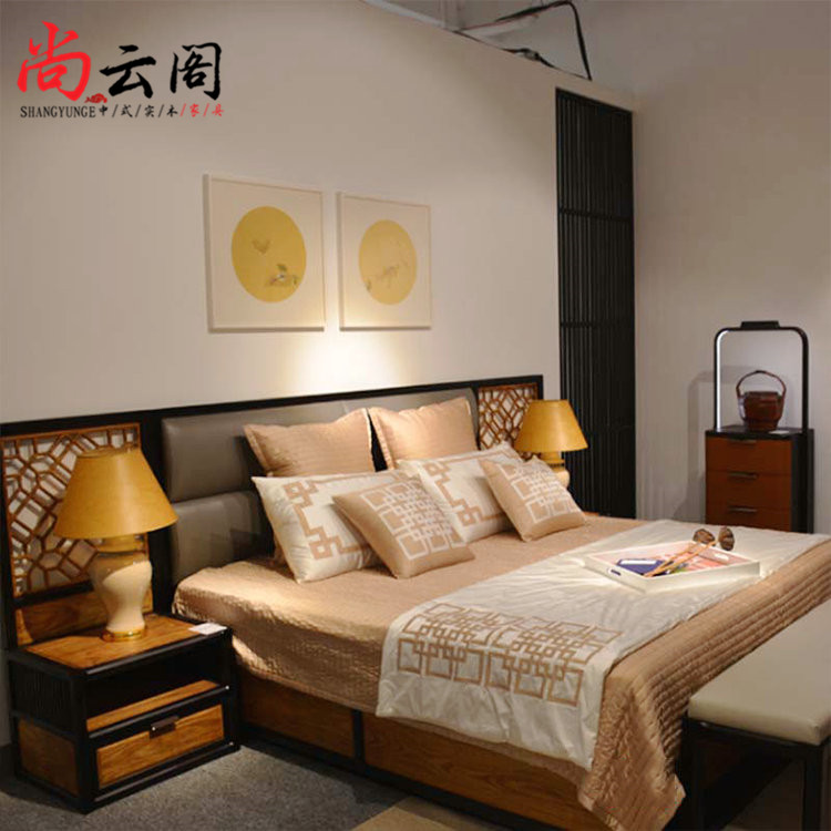 New Chinese style solid wood double bed bedroom Hotel model house custom furniture modern Chinese 1.8 meters double bed