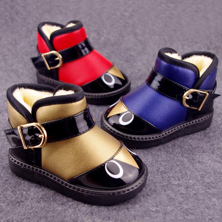 儿童鞋马丁靴男童雪地靴女童靴子冬2017新款加厚防水宝宝棉鞋短靴
