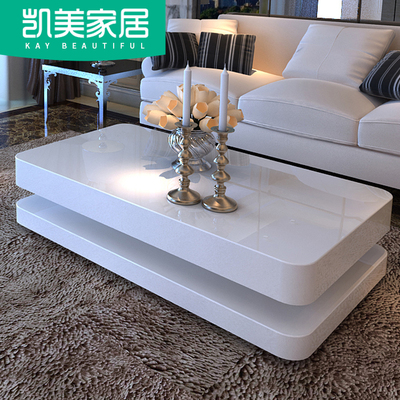 Tea Table White coffee table simple modern living room tempered glass personality creative TV cabinet combination