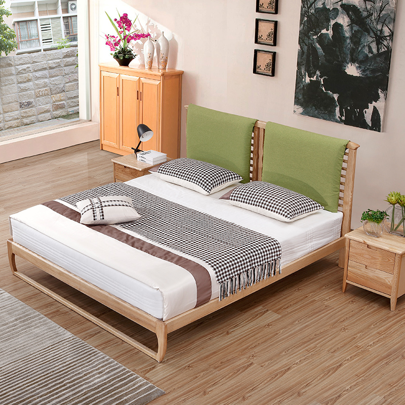 The Japanese all solid wood bed ash simple single bed double cloth Jane 1.5 meters and 1.8 meters