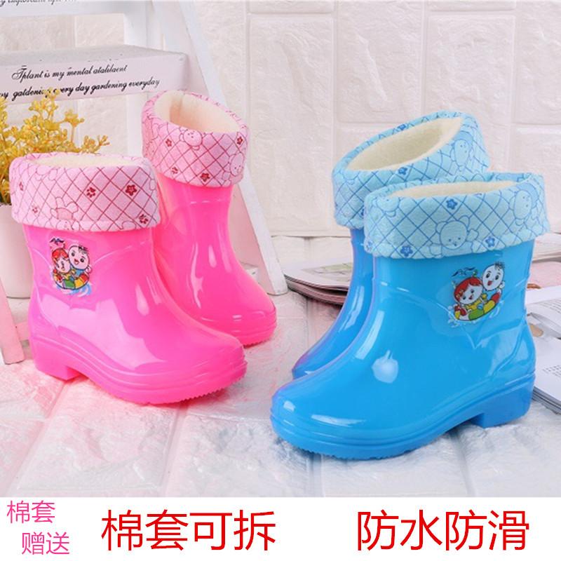四季儿童卡通幼童雨鞋男童女童防滑宝宝水鞋雨靴加绒小孩保暖胶鞋