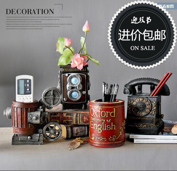 放映機 紅色韓國復古多功能老板學生用創意筆筒簡約時尚辦公桌擺件桌面收納盒