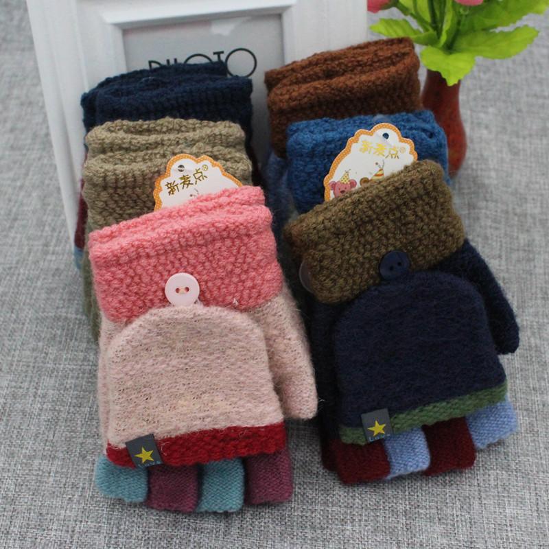 秋冬季儿童手套半指翻盖保暖小孩小学生写字宝宝男童女童五指手套