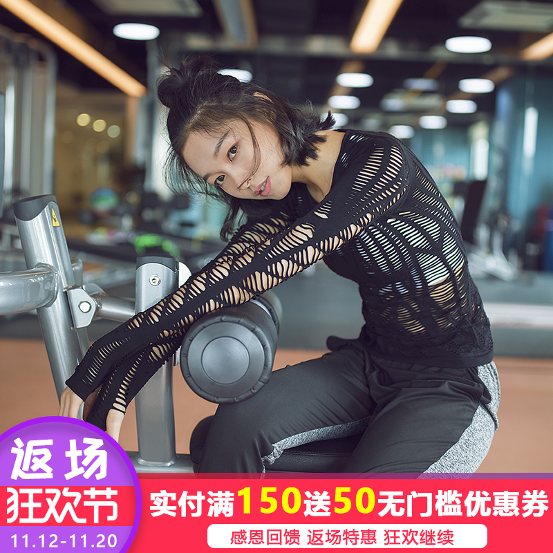 Gym, new sexy, hollowed out long sleeves, quick drying, breathable clothes, T-Shirts, exercise tops, yoga suits, women