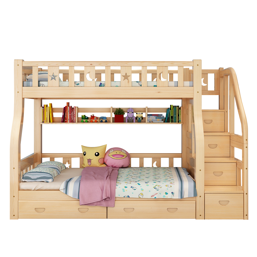Double bed, upper and lower children, multi function group, solid wood bed, bed and nap, up and down the upper and lower berth